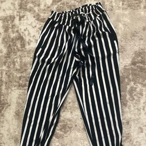 Zara silk tapered trousers tie waist navy stripe
